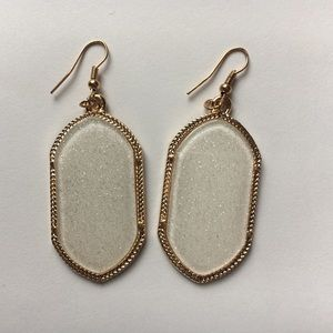 White Druzy style gold tone earrings